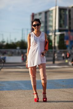 Not everyone can pull this look off, but this girl sure can.  Sheer's a big trend for SS12, but love the unexpectedness of how this young lady put that trend work.