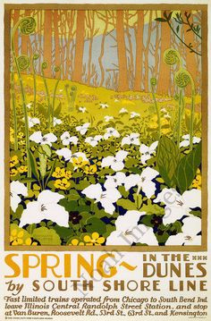Spring in Dunes vintage South Shore Line poster repro 24x36