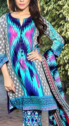 Buy Turquoise/Blue/Pink Embroidered Cotton Lawn Dress by IVY Print Lawn Collection 2015