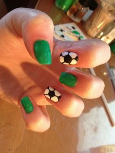 Soccer nails** will do for soccer season in my daughters team colors insted of green along with her jersey number