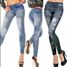 13.74$ Watch here - http://vihkq.justgood.pw/vig/item.php?t=v7toons683 - Women's Sexy (Jeans Look) Skinny Leggings Stretchy Slim Fit Soft Style 8-12 13.74$