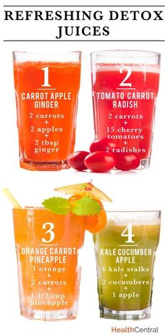Refreshing Detox Juice Recipes (#INFOGRAPHIC): Trying to snack a little healthier and give your stomach a break? Try these super quick and easy #juice #recipes. Just combine the ingredients in a juicer and blend!  Raw, Juice, Juices and Smoothies  Pinned By: Live Wild Be Free www.livewildbefree.com Cruelty Free Lifestyle & Beauty Blog. Twitter & Instagram @livewild_befree Facebook http://facebook.com/livewildbefree