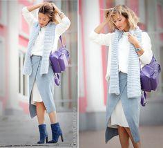 SKIRT -ASOS   FOR MORE:     http://galantgirl.com/en/asos-wrap-suede-skirt-outfit/    #WrapSkirt #ShadesOfBlue #PernelleBag #PernelleBackpack #Suede #SuedeSkirt #GalantGirl