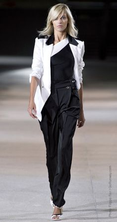 ladies check out this look. White and black tuxedo jacket....trousers and a fab sandal. #AnthonyVaccarello looks like a one sholder shirt. thoughts? Colored Accessories?