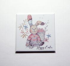 Easter Bunny, Happy Easter Magnet, Magnet, Fridge magnet, Easter, Easter Rabbit, Easter gift, Easter magnet, pastel colors (7388) by KellysMagnets on Etsy