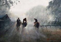 Joseph Zbukvic  -  Heading Out  (Morning Track Work) Watercolour