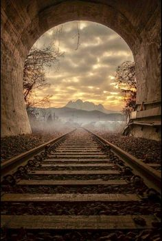 """Our life is a constant journey, from birth to death. The landscape changes, the people change, our needs change, but the train keeps moving. Beautiful World, Beautiful Places, Landscape Photography, Nature Photography, Train Tunnel, Old Trains, Photos Voyages, Train Tracks, Amazing Nature"