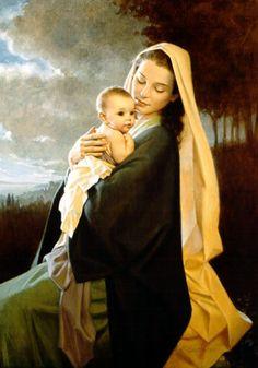 Misterios gozosos: 3. El Nacimiento del Hijo de Dios.   Treasured in Her Heart  Artist: Kathy Lawrence