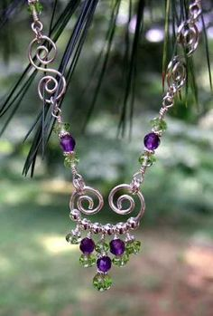 Necklaces: Sterling Silver Gemstone Wire Wrapped Birthstone Beaded Necklaces by wanting