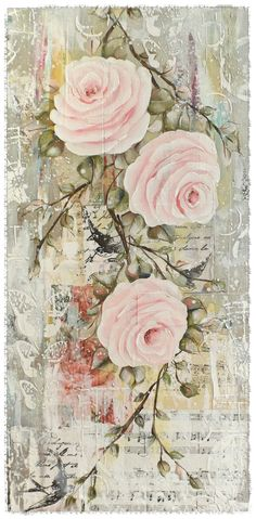 Vintage Inspired Mixed Media Collage, music sheets, floral paper, metallic silver detail, Rambling Roses. Lots of texture which I love. Artwork by Tracey White rosepetalspast.blogspot.com.au