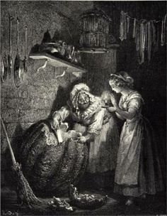 Cinderella's Fairy Godmother prepares the pumpkin, illustration by Gustave Dore. Gustave Dore, Cinderella Pictures, A Cinderella Story, History Of Illustration, Illustration Artists, Charles Perrault, Arte Obscura, Fairy Godmother, Halloween Art