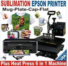 SUBLIMATION PRINTER EPSON + HEAT PRESS SUBLIMATION COMBO 6X1 COMPLETE PACKAGE | eBay