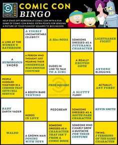 Comic Con BINGO  wish I could be there to play in person!