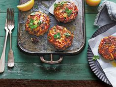Gulf Crab Cakes with Lemon Butter Recipe | For these plump Coastal Texas treats, make sure to handle the delicate mixture carefully; the chilling process helps the cakes hold their shape during cooking.