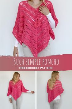 Easy Crochet Patterns, Crochet Stitches, Simple Crochet, Tutorial Crochet, Free Crochet Patterns For Beginners, Poncho Knitting Patterns, All Free Crochet, Scarf Patterns, Crochet Shawls And Wraps