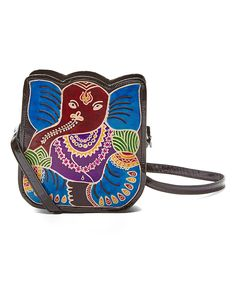 Look what I found on #zulily! Blue Elephant Hand-Painted Leather Crossbody Bag by Shina #zulilyfinds