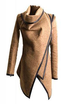 Irregular Long Sleeve Tweed Winter Trench Coat [ AlbertoFermaniUSA.com ] #fashion: