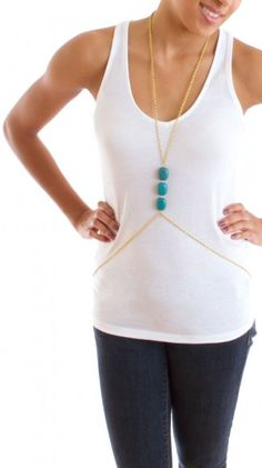 Khloe Body Chain - Turquoise - without the body chain this would still be a classy piece!