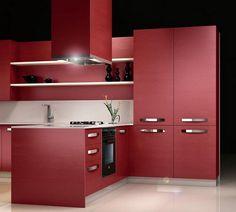 Modern Red Laminate Kitchen Cabinets