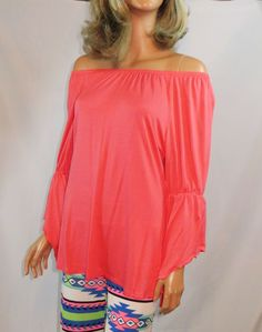 Cowgirl Gypsy Peasant CORAL Top Tunic shirt Bell Ruffle Sleeve GORGEOUS! NWOT S our prices are WAY BELOW RETAIL! all JEWELRY SHIPS FREE! www.baharanchwesternwear.com baha ranch western wear ebay seller id soloedition