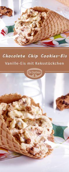 Chocolate Chip Cookies-Eis: Vanille-Eis mit Keksstückchen #eisselbermachen #eisideen #eiskreation #waffeleis