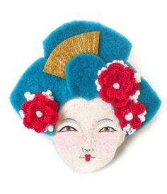 Oriental Girl Felt Brooch, Fabric Brooch, Art Brooch, Wearable Art Jewelry. $25.00, via Etsy.