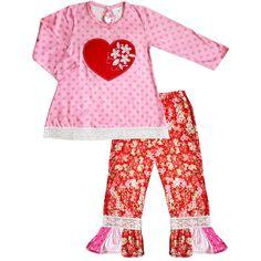 Baby Toddler Little Girls Valentines Day Cherry Blossom Heart Polka Dot Pant Set - 4 - 5T