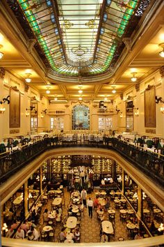 Confeitaria Colombo, principal hall and Art Deco glass roof top. Brazil Travel, Art Deco Glass, Glass Roof, Rooftop, Travel Photos, Beautiful, City, Places, Confectionery