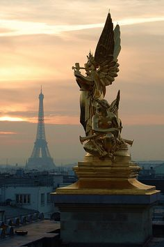 Eiffel Tower seen from Opera Garnier's rooftop, Paris, France.