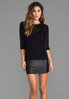 TYLIE Leather Hem Knit Dress in Black at Revolve Clothing - Free Shipping!