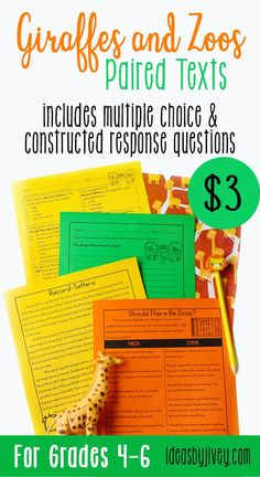 Use these differentiated paired passages with your students to integrate high-interest, engaging informational passages about giraffes, as well as the positive and negative facts about zoos. This is the perfect set to integrate reading with persuasive writing as well! #pairedtexts #readingactivities #fourthgrade #fifthgrade #sixthgrade