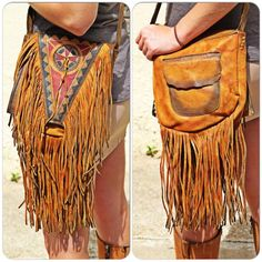 "- 42"" adjustable strap - 8.5"" X 9.5"" and 2"" wide - Hand painted, southwest cover flap - Soft, Cowhide fringe - 2 outside pockets, one at the back and one under the front flap"