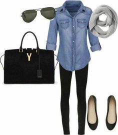 chambray shirt, black skinnies, black flats
