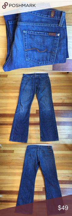 "7 For All Mankind Boot Cut Jeans Boot cut jeans by 7 for all mankind. 100% cotton. Waist measures 17.5""; rise 9""; inseam 33.5"". Minor fraying on cuffs and pockets. EUC. 7 For All Mankind Jeans Bootcut"
