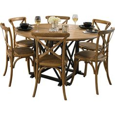 Provincial Oak Round Table Black with 6 Cross Back Chairs Oak Package - Packages - Dining