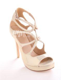 Golden Criss-Cross PU Womans High Heels - Milanoo.com