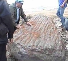 WOOD FROM NOAH'S ARK? Researchers standing with a large piece of pitch covered petrified wood believed to be part of Noah's Ark. In Turkey, there is a site believed to be the final resting place of the Ark. Underground Scans  have revealed a man made structure which lies at the bottom of Mt. Ararat. The scans detected iron rivets evenly spaced below the ground. When measured, the length of the ship MATCHES  the description given in the Bible! Side to side, and front to back.