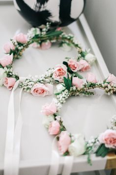 Small rose flower crowns for the flower girls... View the full wedding here: http://thedailywedding.com/2016/03/17/dana-point-wedding-gaby-jeremy/