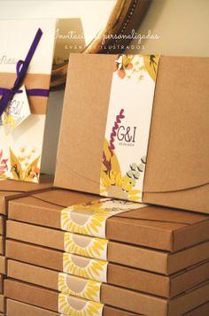 Invitaciones de boda en caja #personalizacion #encaja #selfpackaging #raima #ilustracion #rustic #vintage #flower