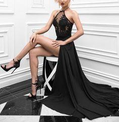Sexy Black Halter Prom Dress,Long High Slit Applique Evening Dresses,A Line Prom Party Dresses,2017 Prom Dresses