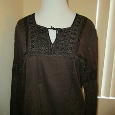 """Brown JILL STUART top JILL STUART brown, casual top. Adorned with stunning crochet details on the front and on the sleeves. Perfect for work or play on the weekends. Made in India. 100% cotton.  Size 3 - but on my 5'2""""  frame - seems like a medium. Jill Stuart Tops Tunics"""