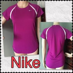 Nike Dri-Fit Women Top Athletic Wear Beautiful purple and white Top Nike for running. Size: Small Shoulder to hem: 23 armpit to armpit: 17 Neck to arms: 9. Feel free to send message for bundle offer of any of my item. Nike Tops Tees - Short Sleeve