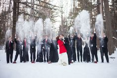 Make sure that you take advantage of the season! Pose in the snow all cuddled up with your new spouse, and even encourage a little snowball fight between wedding party members.   10 Stunning Winter Wedding Ideas