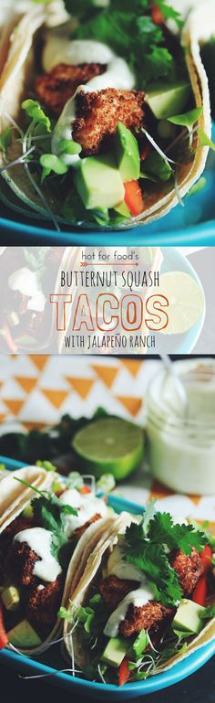 Make my tasty butternut squash tacos with jalapeño ranch and have one helluva taco Tuesday! Or eat them all week long. Vegan Mexican Recipes, Vegan Dinner Recipes, Raw Food Recipes, Vegetarian Recipes, Cooking Recipes, Healthy Recipes, Alkaline Recipes, Easy Recipes, Vegan Foods