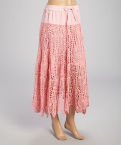 Pink Crocheted Midi Skirt