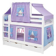 Unique Girls Bunk Beds for Your Kids: Simple Girl Bunk Beds Purple Twin Bed Tent Shape ~ apcconcept.com Bedroom Designs Inspiration