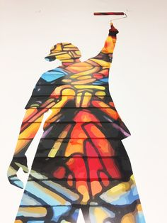 The Graffiti Writer Paint Roller vinyl wall art, bring some colourful street art into your house.