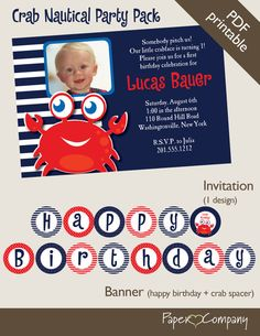 CRAB Nautical First Birthday Birthday Party by PaperHeartCompany, $40.00