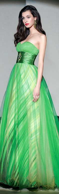 Absolutely stunning - Green Gown with a touch  or yellow by Alyce Paris Couture 2013