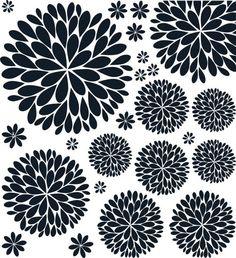 NEW & Improved Black Dahlia Flower Vinyl Wall Decal. $24.95, via Etsy.